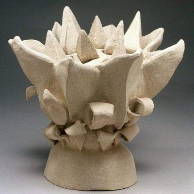 Baby Sunflower ceramic sculpture by Tessa Eastman