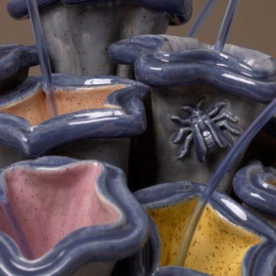 Bee on Bursting Blue Spray ceramic sculpture by Tessa Eastman - detail