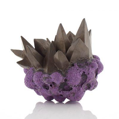 Crystalline Cloud Purple Bronze Gold ceramic sculpture by Tessa Eastman