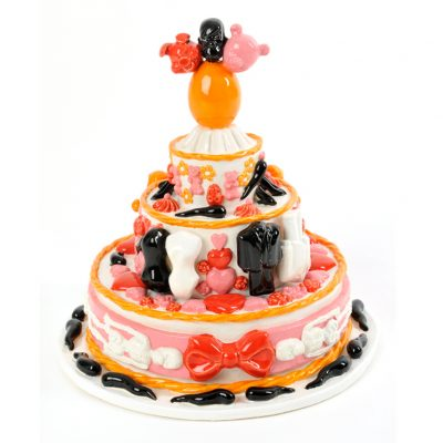 Cum Eat Me Cake ceramic cake sculpture by Tessa Eastman