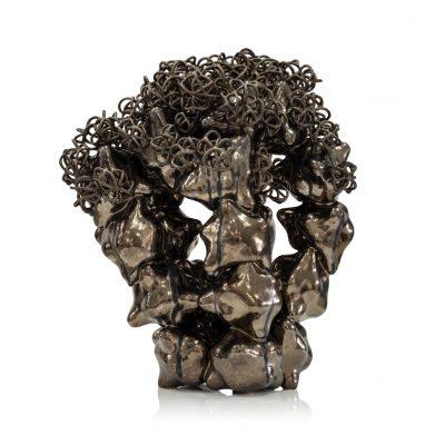 Erupting Bronze Gold Cloud Cluster ceramic sculpture by Tessa Eastman