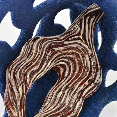 Glistening Branch (detail) ceramic sculpture by Tessa Eastman