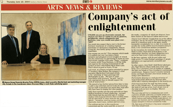 Newbury Weekly News 10th June 2004 Company's act of enlightenment article