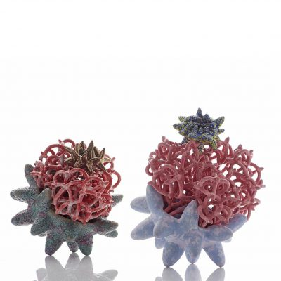 Pollinating Creature I and II ceramic sculptures by Tessa Eastman