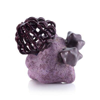 Purple Rocket Baby Cloud Bundle ceramic sculpture by Tessa Eastman