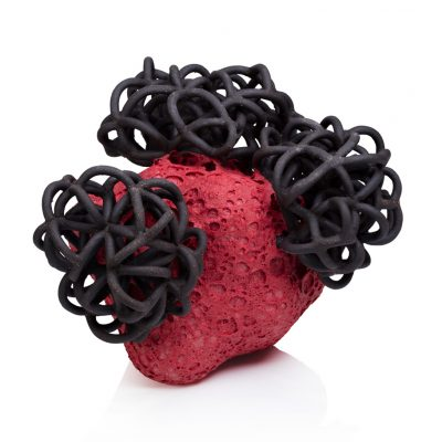 Red Black Cloud Bundle ceramic cloud sculpture by Tessa Eastman