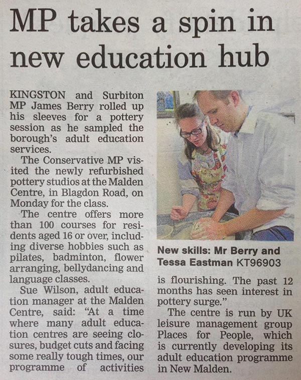 Surrey Comet 20th May 2016 MP Takes a spin in new eduction hub