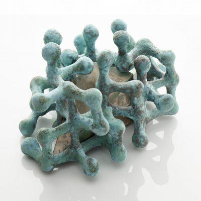 Verdigris Crystal Element ceramic sculpture by Tessa Eastman