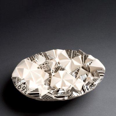 Barcode ceramic bowl sculpture by Tessa Eastman