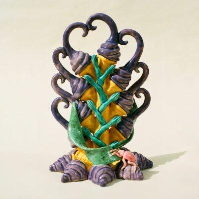 Beetle On Ice Cream Corn ceramic sculpture by Tessa Eastman