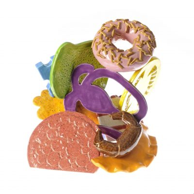 Colourful Happy Meal (front) ceramic sculpture by Tessa Eastman