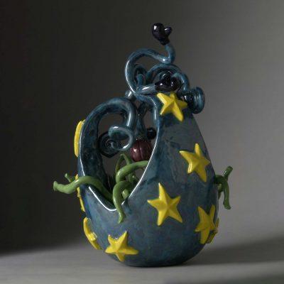 Cosmic Egg ceramic sculpture by Tessa Eastman