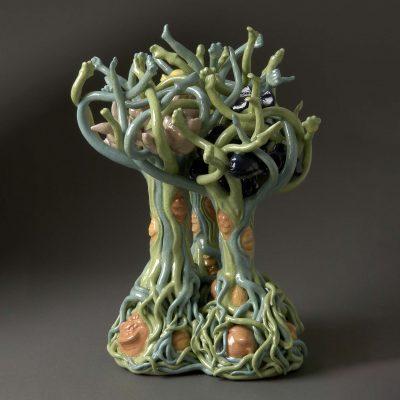 Fishy Bunny Ducky Trees ceramic sculpture by Tessa Eastman