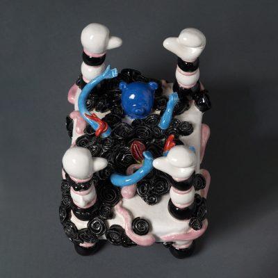 Fookie Fookie ceramic bed sculpture by Tessa Eastman - top