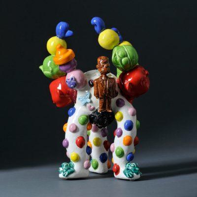 King Dummie Steering All Fearing Workin Wizza ceramic sculpture by Tessa Eastman - back