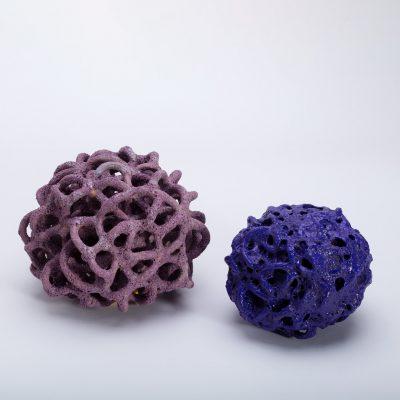 Low Density Matt Purple Cloud and High Denisty Gloss Purple Cloud ceramic sculptures by Tessa Eastman