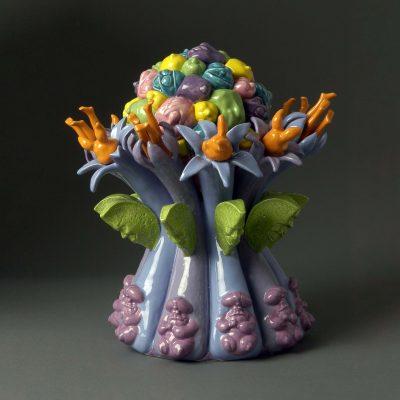 Melon Berry Burst ceramic sculpture by Tessa Eastman