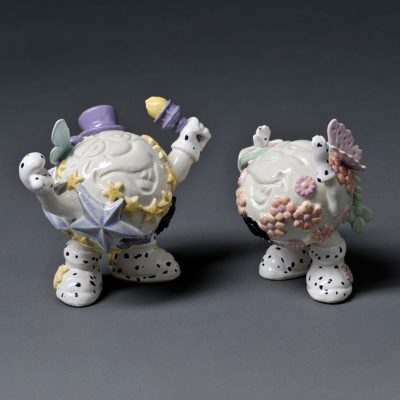 Miss Sunshine Delight and Mr Macho Moonlight Love Balls ceramic sculpture by Tessa Eastman