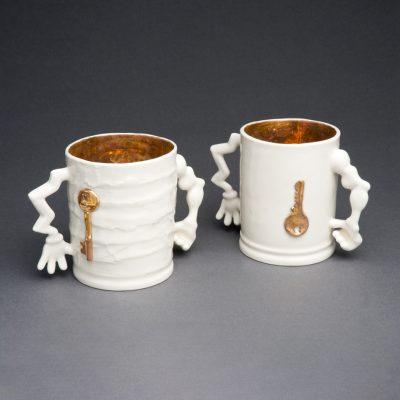 Gold Lustre Porcelain Safe Hands Mugs by Tessa Eastman