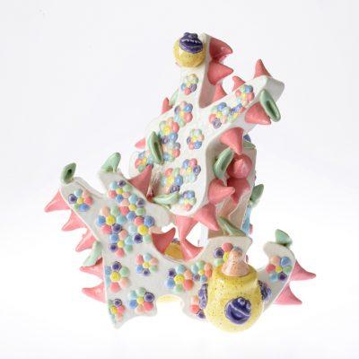 Spiky Horny Pinky Whitey Bunny (back) ceramic sculpture by Tessa Eastman