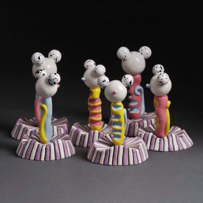 White Mama Maraca Mice ceramic sculpture by Tessa Eastman