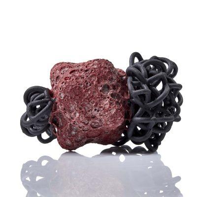 Red Black Baby Cloud Bundle II glazed ceramic sculpture by Tessa Eastman