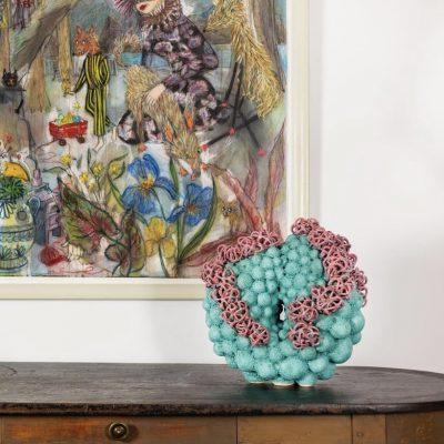 Big Hair Cloud glazed ceramic sculpture by Tessa Eastman