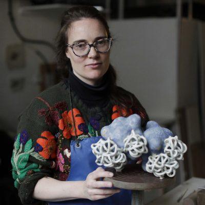 Cloud Duo Sea Ice glazed ceramic sculpture by Tessa Eastman