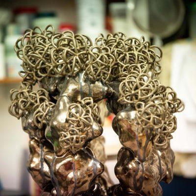 Erupting Bronze Gold Cloud Cluster glazed ceramic sculpture by Tessa Eastman