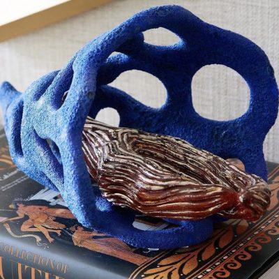 Glistening Branch glazed ceramic sculpture by Tessa Eastman