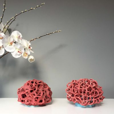 Low Density Red Cloud and High Density Red Cloud II ceramic sculptures by Tessa Eastman