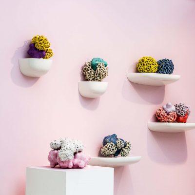 Pink and Lavender Baby Cloud Bundles glazed ceramic sculpture by Tessa Eastman