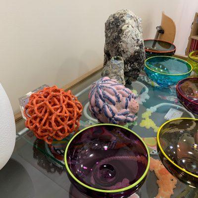 Low Density Orange Fizz Baby Ball Cloud glazed ceramic sculpture by Tessa Eastman