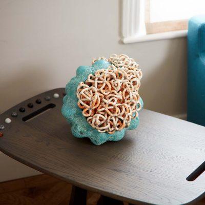 Residing Cloud Turquoise Orange glazed ceramic sculpture by Tessa Eastman