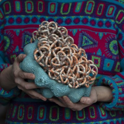 Residing Cloud Turquoise Orange I glazed ceramic sculpture by Tessa Eastman